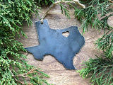 Texas State Metal Ornament with tiny heart over Dallas Fort Worth