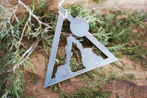 Coyote Moon Triangle Metal Ornament
