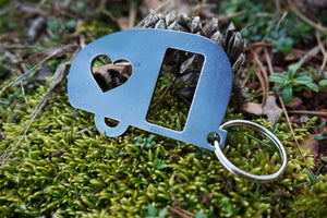 Camper Metal Key Chain with Heart