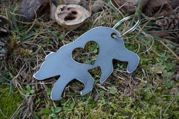 Bear Metal Key Chain with Heart