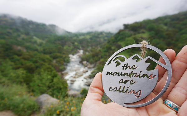 Mountains Are Calling Ornament made from recycled steel Rustic Christmas Decor