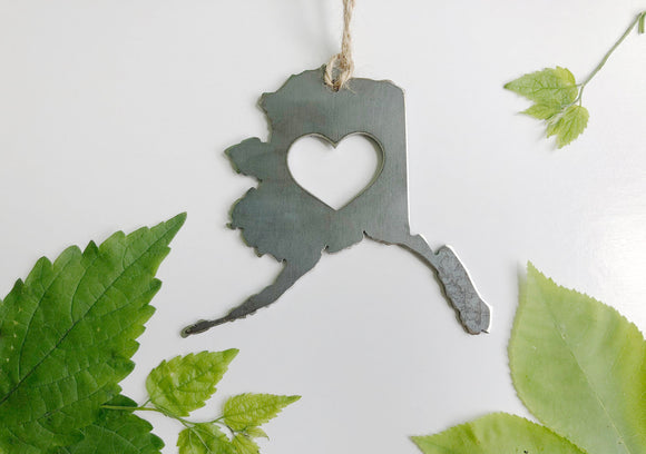 Alaska State Metal Ornament with Heart