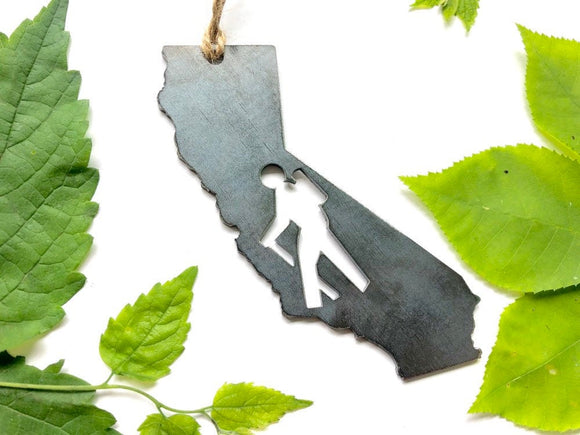 California State Metal Ornament with Hikers