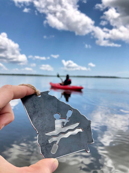 Georgia State Ornament with Kayakers