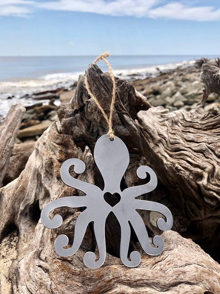 Octopus Metal Ornament Christmas Tree Decoration Holiday Decor Ocean Sea Beach House Hostess Gift Stocking Stuffer made from recycled steel
