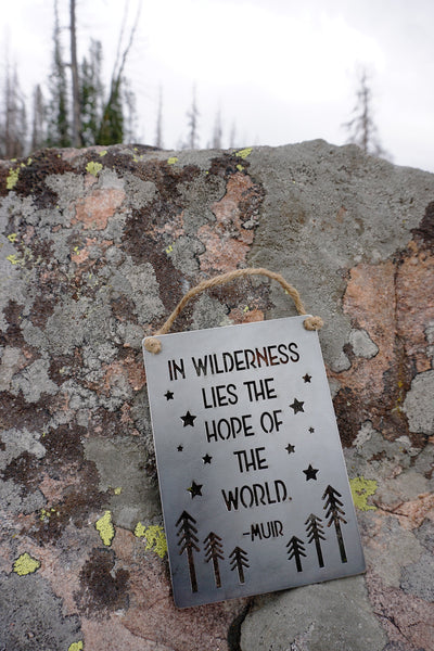 "In Wilderness Lies the Hope of the World 5"" x 7"" Metal Sign"