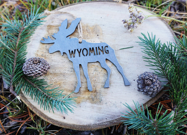Wyoming Moose Christmas Ornament made from Raw Sustainable Recycled Steel Christmas Tree Holiday Gift Cabin Hunting Rustic Mountain Home