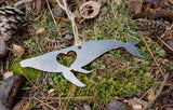 Humpback Whale Metal Ornament with Heart