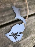 Michigan State Metal Ornament With Kayaker