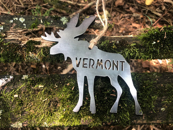 Vermont Moose Metal Ornament