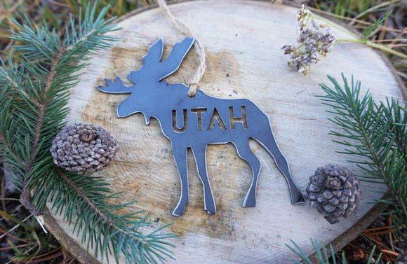 Utah Moose Metal Ornament