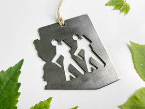 Arizona State Metal Ornament with Hikers