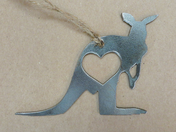 Kangaroo Rustic Raw Steel Ornament with Heart