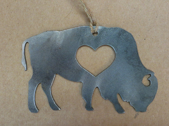 Buffalo/ Bison Metal Ornament with Heart