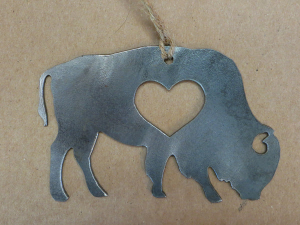 Buffalo Bison Metal Ornament with Heart