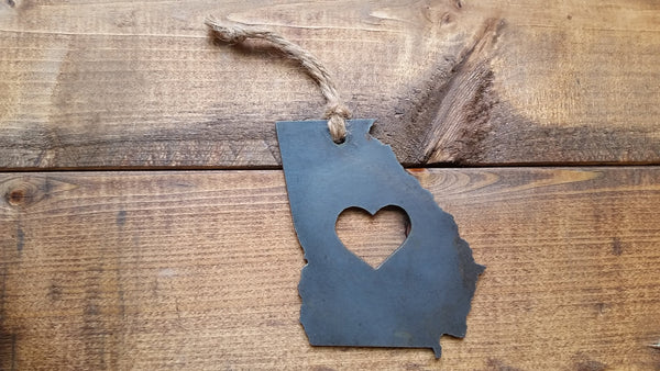 Georgia State Rustic Raw Steel Metal Ornament with Heart