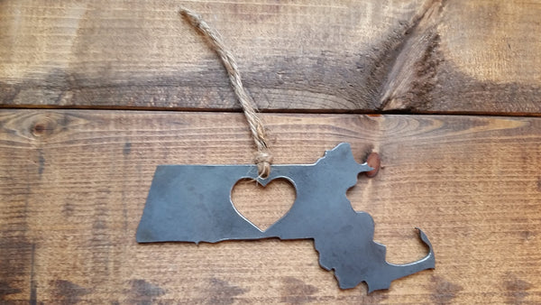 Massachusetts State Metal Ornament with Heart