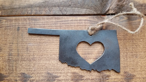 Oklahoma State Metal Ornament with Heart