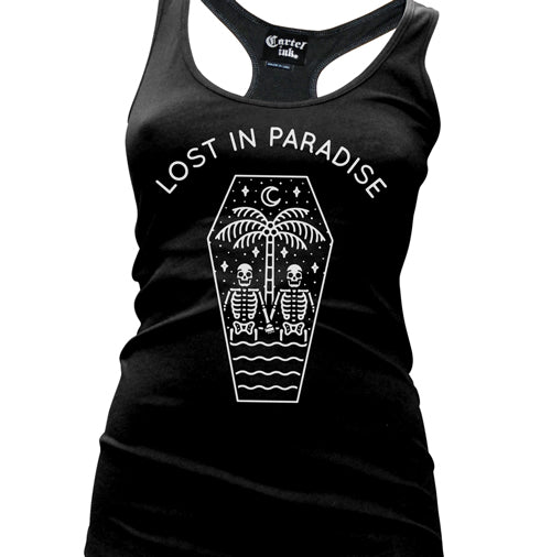 Lost in Paradise Womens racer Back Tank Top