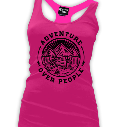 Adventure over People Women's Racer Back Tank Top