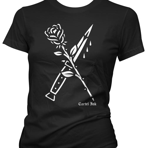 Rose and Switchblade Tattoo Women's T-Shirt
