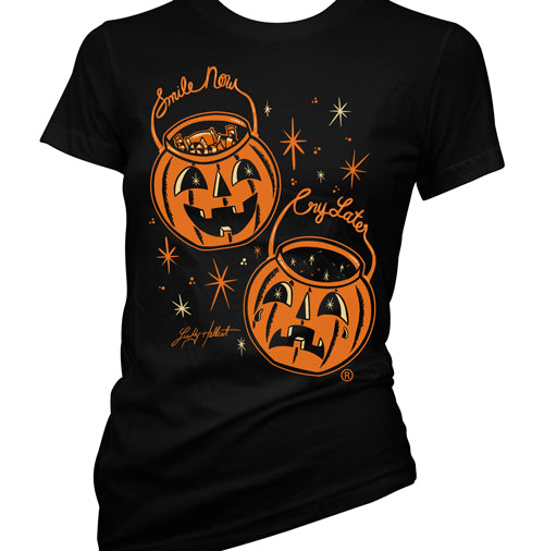 Smile Now Cry Later Women's Pumpkin  T-Shirt
