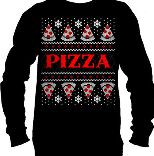 Pizza Ugly Christmas Sweater Men's Long Sleeve T-Shirt