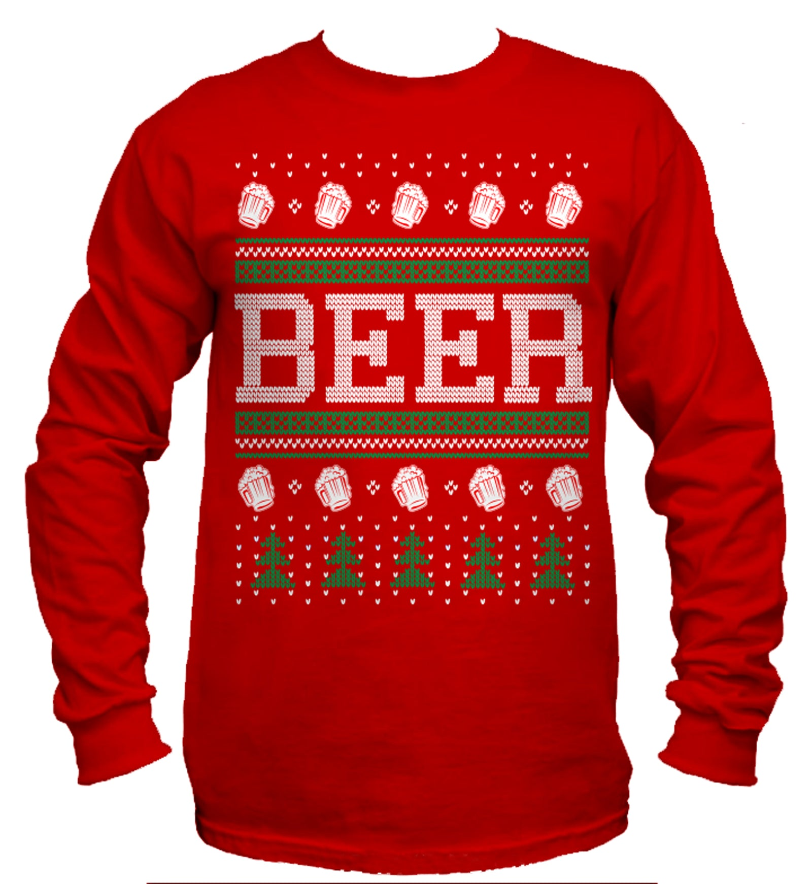 Beer Ugly Christmas Sweater Long Sleeve T-Shirt
