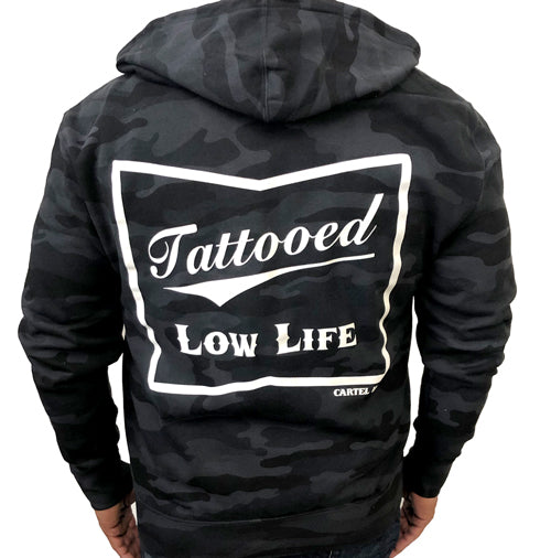 Tattooed Low Life Black Camo Zippered Hoodie