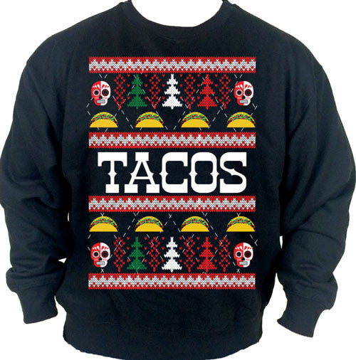 tacos ugly Christmas Crewneck Sweater