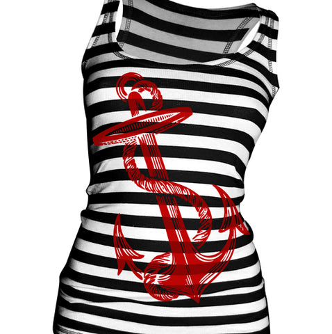 Tiki Fire Lounge Stripe Women's Racer Back Tank Top