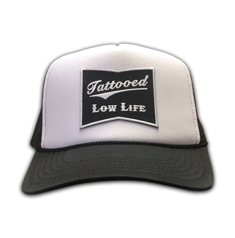 OG Tattooed Low Life Embroidered Patch White Snapback Hat