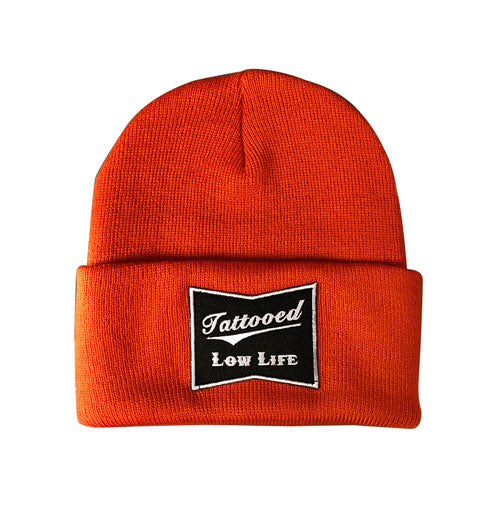 OG Tattooed Low Life Cuffed Knit Beanie-Orange