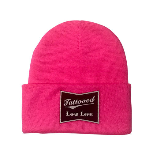 OG Tattooed Low Life Cuffed Knit Beanie-Pink
