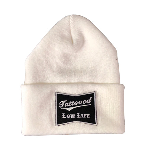 OG Tattooed Low Life Cuffed Knit Beanie-White