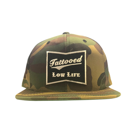 Respect Embroidered Patch Camouflage Snapback Hat