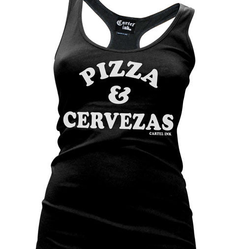 Pizza and Cervezas Women's Racer Back Tank Top