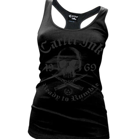 Ready To Rumble Black on Black Women's Racer Back Tank Top