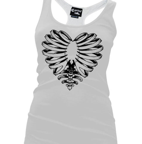 Skeleton Heart Women's Racer Back Tank Top
