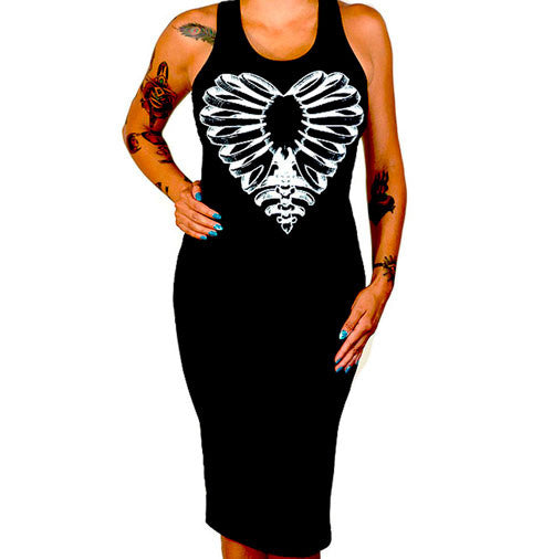 Skeleton Heart Women's Fitted Tank Dress