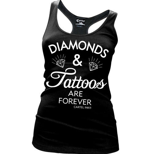 Diamonds and Tattoos are Forever Women's Racer Back Tank Top