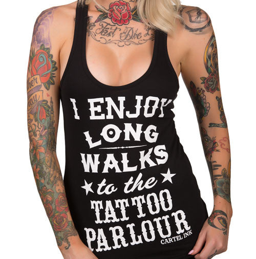 I Enjoy Long Walks To The Tattoo Parlour Women's Racer Back Tank Top
