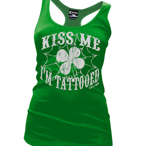 Kiss Me I'm Tattooed Women's Racer Back Tank Top