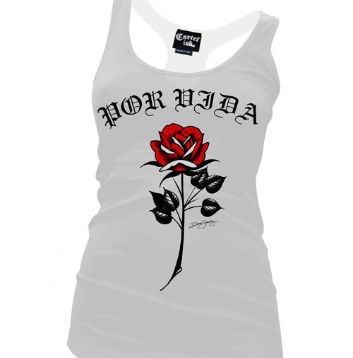 Por Vida Rose Women's Racer Back Tank Top