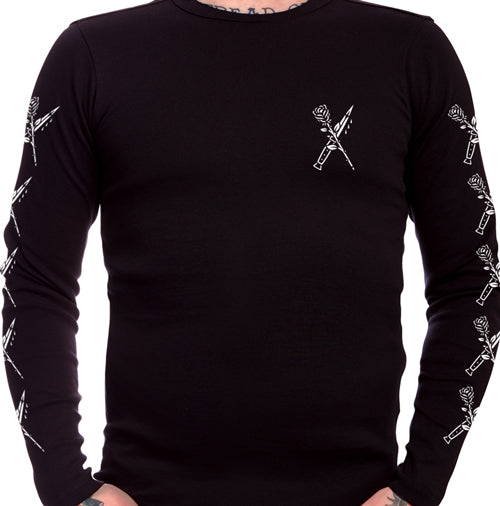 Rose and Switchblade Tattoo Men's Long Sleeve T-Shirt