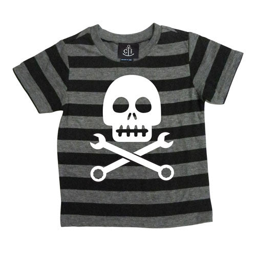 skully pin striped kids tee