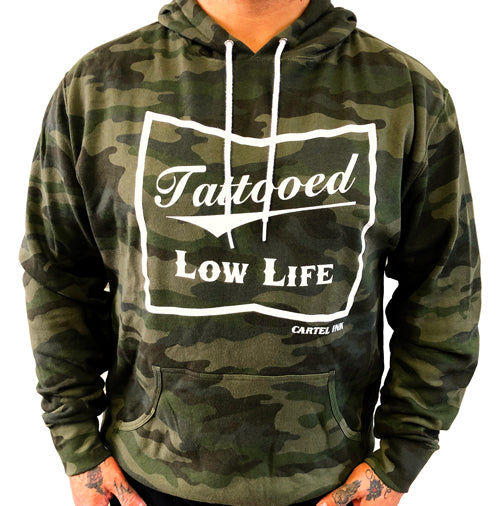 Tattooed Low Life Pull Over Hoodie - Green Camo