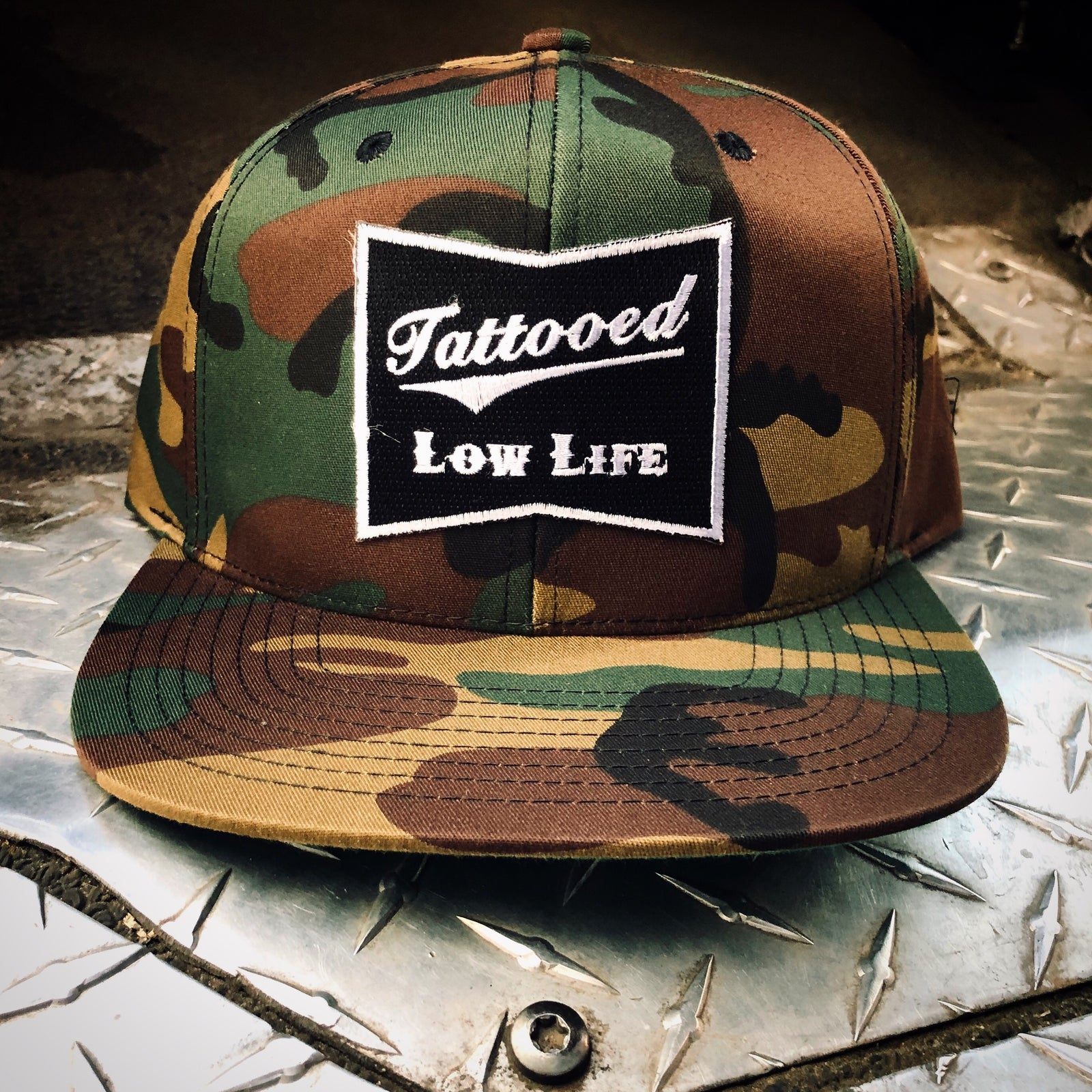 OG Tattooed Low Life Embroidered Patch Camouflage Snapback Hat