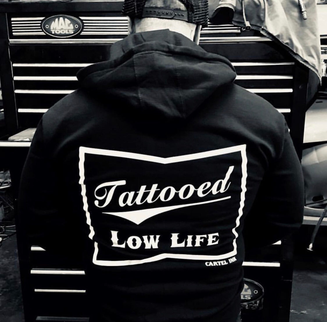 Tattooed Low Life Zippered Men's Hoodie