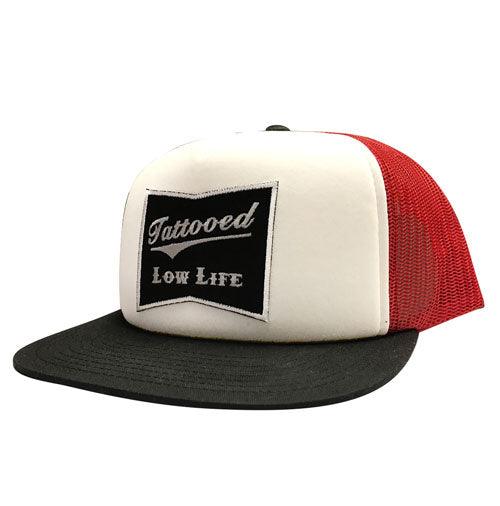 OG Tattooed Low Life Embroidered Trucker Hat-RED/WHT